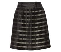 Pleated Satin And Organza-paneled Skirt Schwarz