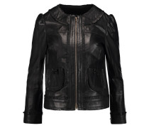 Fringed Leather Jacket Schwarz