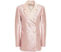 Double-breasted Satin-trimmed Piqué Blazer