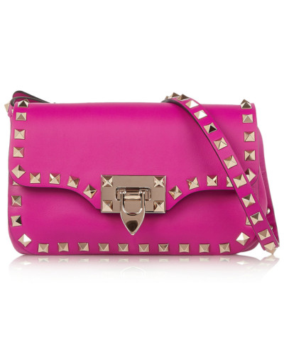 Rockstud Leather Shoulder Bag Magenta