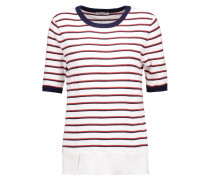 Brienne Striped Cotton And Cashmere-blend Sweater Weiß