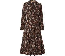 Belted Printed Silk Crepe De Chine Midi Dress