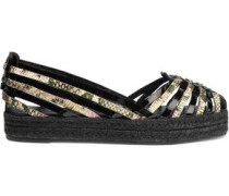 Cisco patent and snake-effect leather espadrilles