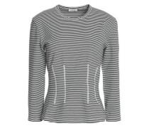 Striped cotton-blend jersey top