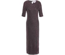 Marled Metallic Ribbed-knit Midi Dress