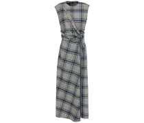 Woman Knotted Checked Woven Midi Dress Gray