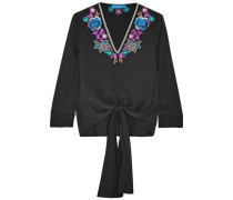 Embroidered silk-satin top