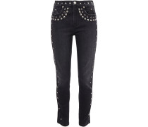 Woman The 7-pocket Eyelet-embellished Studded Mid-rise Skinny Jeans Black