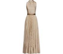 Pleated Metallic Striped Crochet-knit Maxi Dress