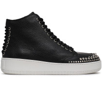 Netil Lace-up Studded Pebbled-leather High-top Sneakers