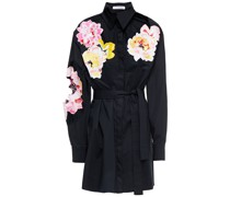 Hemd aus Popeline aus Einer Baumwollmischung mit Floralen Applikationen und Gürtel