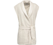 Champlin Pleated Cotton-tweed Vest Ecru