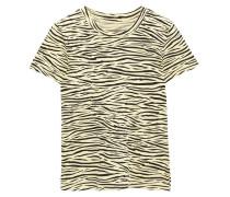 Woman Zebra-print Cotton-jersey T-shirt Pastel Yellow