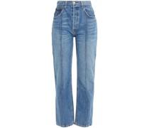 Cynthia Faded High-rise Straight-leg Jeans