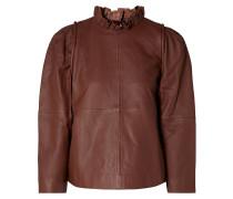 Lidia Ruffled Leather Top