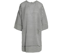 Gingham silk and wool-blend crepe dress