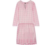 Pleated gingham silk-tulle mini dress