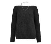 Chain-trimmed cashmere-blend bouclé sweater