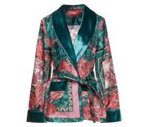 Armonia Belted Velvet-trimmed Printed Silk-satin Twill Jacket