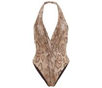 Badeanzug mit Schlangenprint und Twist-detail An Der Vorderseite