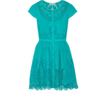 Kaley crochet-trimmed embroidered cotton mini dress