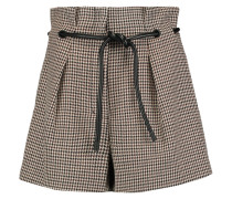 Houndstooth Pleated Wool-crepe Shorts Braun