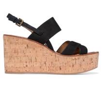 Destiny Suede Cork Wedge Sandals Schwarz