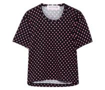Polka-dot cotton-jersey T-shirt