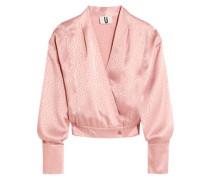 Silk-jacquard wrap blouse