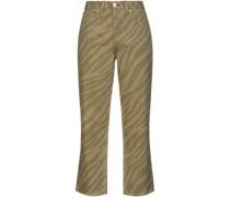 Maya Cropped Zebra-print High-rise Straight-leg Jeans