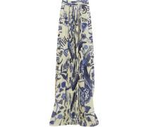 Pleated Printed Chiffon Maxi Skirt Mehrfarbig