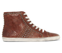 Kira Studded Textured-leather Sneakers Braun