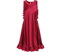 Woman Ruffle-trimmed Silk-satin Mini Dress Burgundy