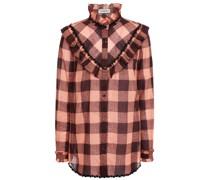 Kariertes Hemd aus Baumwollgaze mit Rüschenbesatz