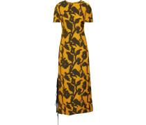 Woman Printed Woven Midi Dress Saffron
