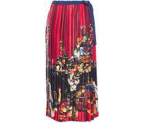 Pleated Printed Satin Midi Wrap Skirt