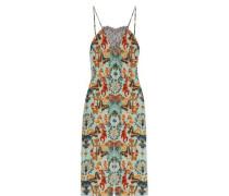 Regal Monkey lace-paneled printed silk slip dress