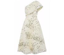One-shoulder fil coupé gauze dress