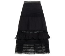 Gaita Ruffle-trimmed Crocheted Lace And Cotton-blend Voile Midi Skirt