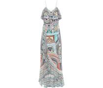 Crystal-embellished Ruffled Printed Silk Crepe De Chine Maxi Wrap Dress