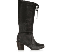 Camilla Distressed Leather Knee Boots Schwarz