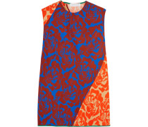 Elisa Paneled Floral-print Crepe Top Orange
