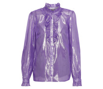 Ruffled Silk-blend Lamé Blouse