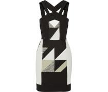 Altamira Cutout Paneled Crepe And Tweed Mini Dress Schwarz
