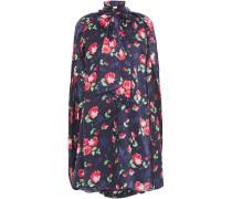 Uluru Cap-effect Pussy-bow Floral-print Silk-jacquard Mini Dress