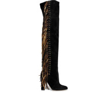 Horsy metallic fringed suede over-the-knee boots