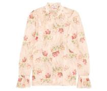 Rhea ruffled printed cotton and silk-blend blouse