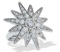 Rhodinierter Ring mit Kristallen
