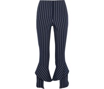 Ruffled Striped Twill Slim-leg Pants