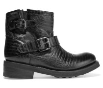 Buckled Leather And Neoprene Boots Schwarz